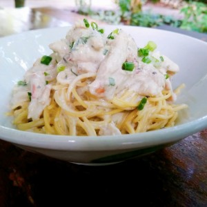 Creamy Crab Meat & Spring Onion Spaghettini